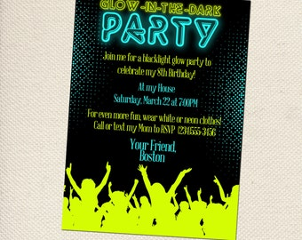 items similar to glow in the dark party customizable invitations, Party invitations