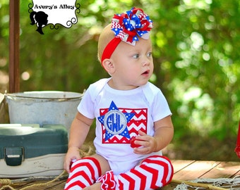 Red Chevron Initial Flag - Girls Personalized 4th of July Applique Shirt & Matching Hair Bow Set