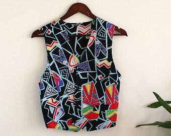 Vintage Colorful Geometric Vest