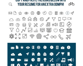 ... icons for contact information, experience, and skills for your resume
