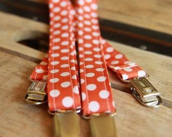 Toddler Suspenders - Toddler Boy - Birthday Suspenders - Photography - Weddings - Orange Dots