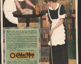 Ladies Home Journal Magazine Ad for O-Cedar Mop, Stolz Studios, year 1913 - House 227