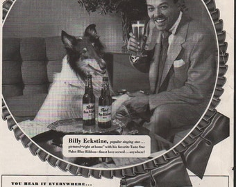 Ebony magazine ad for Pabst Blue Ribbon Beer featuring Billy Eckstine - celeb294