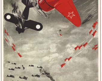 Propaganda posters / Poster «He who's strong in the air...» 1938 #36908 soviet ephemera, Vintage Art, socialist