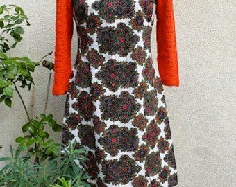 60's Dress Printing style Cashmere, openwork woolen sleeves.