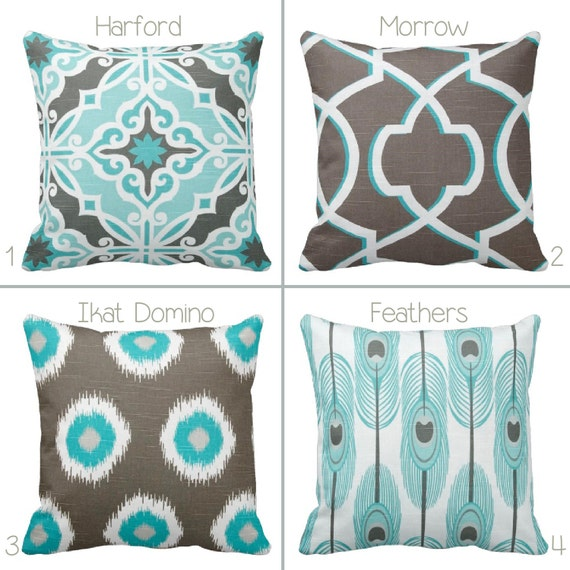 Grey Brown And Aqua Throw Pillow Cover By Primal Vogue