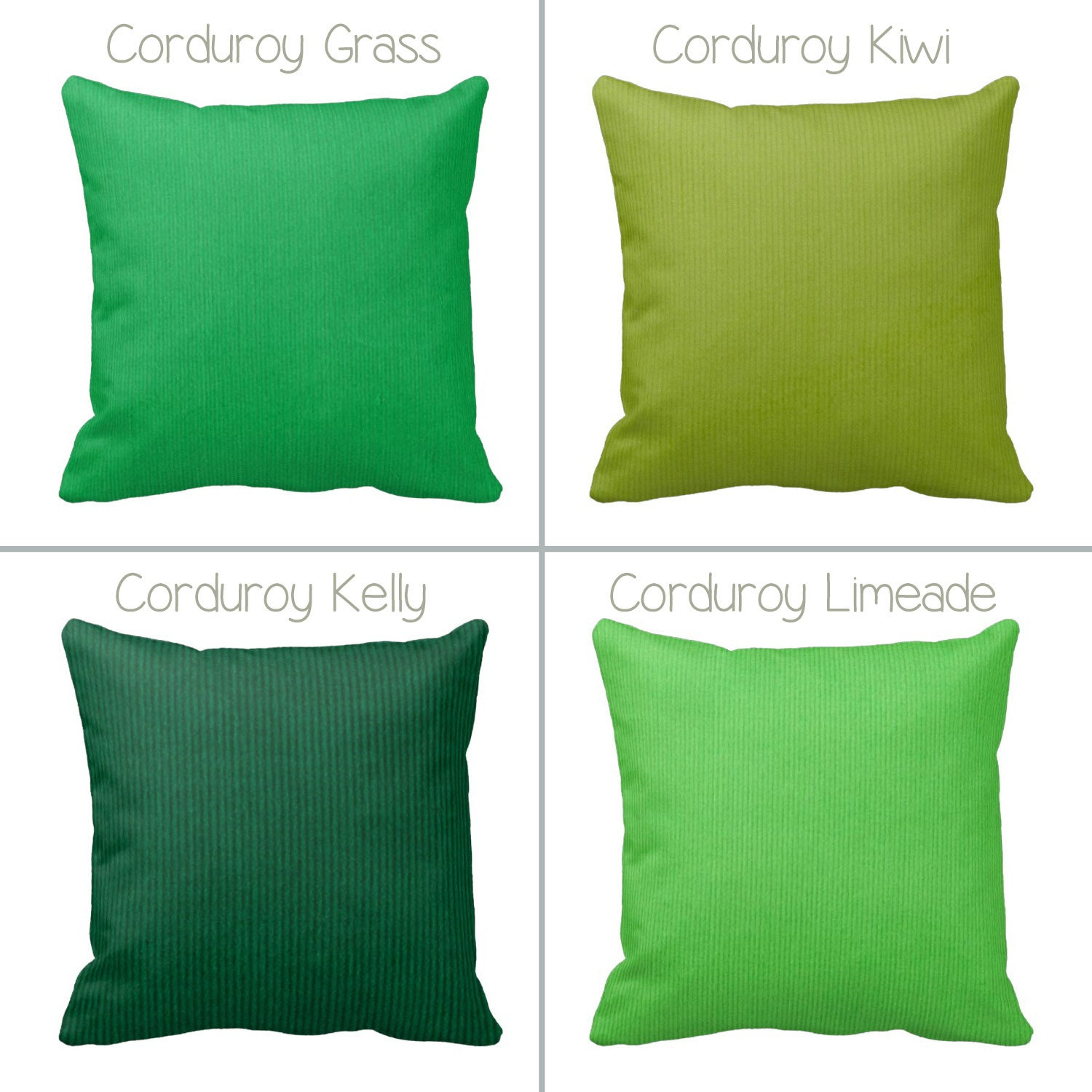 Zippered Corduroy Throw Pillow Cover Lime Forest Jade