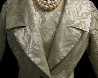 Stunning Vintage 60s BROCADE Dress w. Matching Jacket Wedding Ensemble