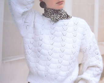 Vintage knitting pattern lacy sweater lady's pdf download pattern only pdf 1980s