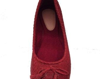 BURGUNDY/DARK RED python ballet flats