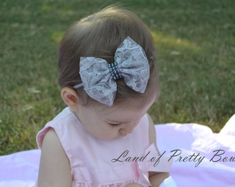 Gray Lace Hair Bow Gray Headband Baby Headband Beautiful Lace Hair Bow Skinny elastic Headband Baby Hair Bow
