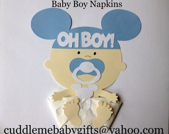 Baby Shower Decor Baby Shower Favor Baby Boy Baby Shower Baby Mouse Ears Paper Napkins