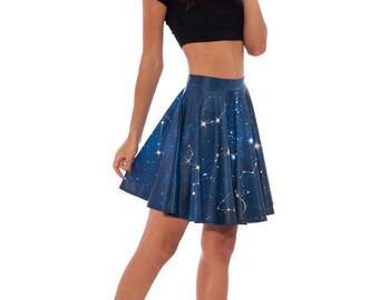 Galaxy Skirt, Star Skirt, Galaxy Clothing, Navy Blue Skirt, Zodiac Skirt, Festival Skirt, Summer Skirt, Skater Skirt, Sexy Skirt Short Skirt