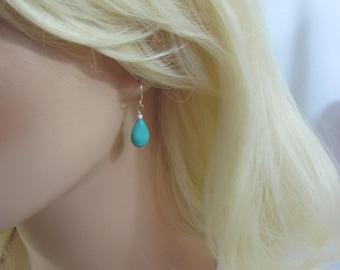 Turquoise Earrings in Sterling Silver, Turquoise Jewelry, Turquoise Teardrop Earrings, December Birthstone Jewelry, Turquoise Birthstone