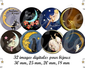 Digital collage sheet moon, digital images Vintage Moon, one inch circle moon, digital collage moon, bottle cap moon, star