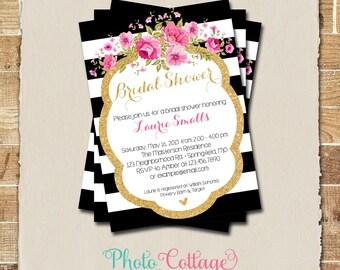 Bridal Shower Invitation, Glitter Gold Invitation, Peony Invitations, Bridal Shower Invites, Black & White Invitation, BS119