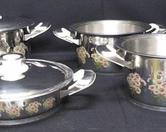 Vintage Turkish Ar-Yildiz Steel Cookware Set Daisies TSE TS 11952 18.10