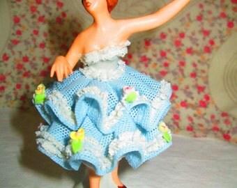 Beautiful Dresden West Germany Ballerina Figurine Porcelain Crinoline lace figurine