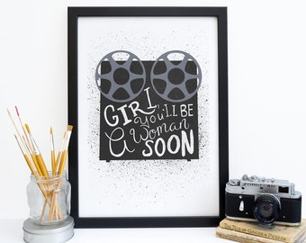 Pulp fiction print reel to reel pop culture print for Minimalist gifts for housewarming