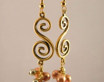 Gold Swirl Earrings with Glass Pearls