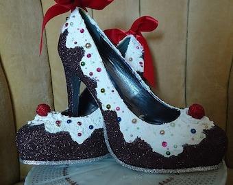 woman's cupcake heels sizes 5-10. cupcake shoes.