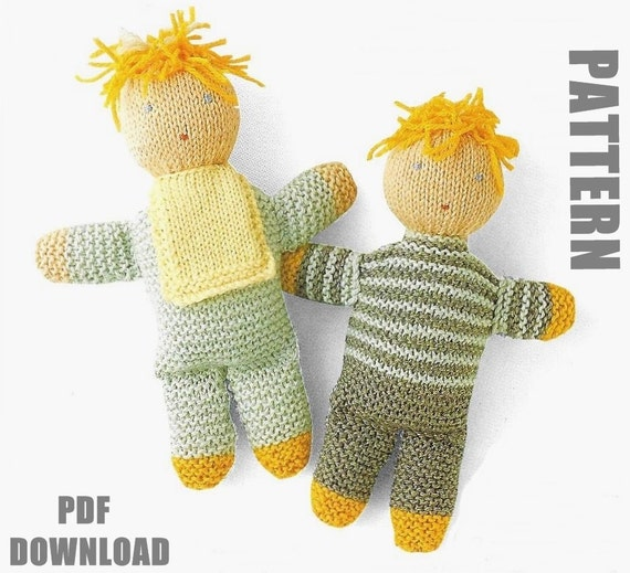 Knitting Patterns For Tiny Dolls : Hand knit Dolls Knitting Pattern Rag Dolls Tiny Tots PDF
