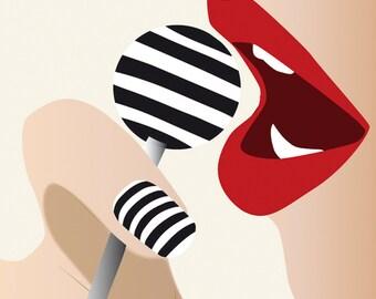Fashion Illustration - Pop Culture - Lolipop - Red Lips - Fashion art print - Sensual Woman - Modern Wall Art - Contemporary Look