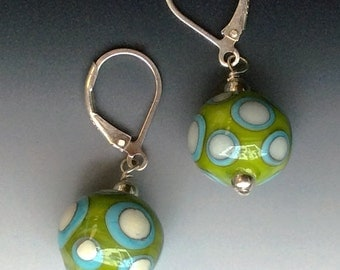 Tribal Earrings in Lime & Turquoise: handmade glass lampwork beads with sterling silver components