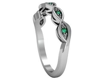 14k White Gold Emerald Ring, Engagement Ring, Wedding Band, Custom White Gold Ring, Promise Ring, Solitaire Ring