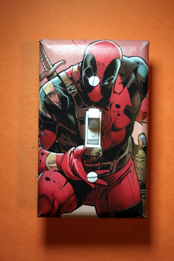 Deadpool Comic Book Superhero Light Switch Plate By