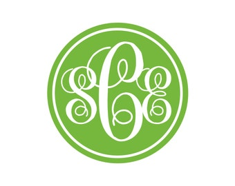 BOGO Script Monogram in Circle Vinyl Decal - 1 Color - Choose from 14 colors in various sizes and fonts