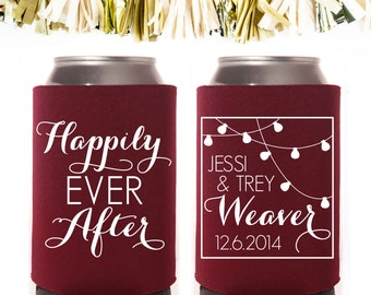 String Lights Happily Ever After Wedding Favors: Custom and Personalized Can Cooler
