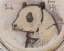 Vintage Sterling Silver Bernard Buffet Panda Plate - Ltd. Ed 1974