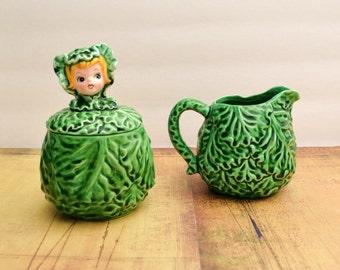 RARE Lefton Cissy Cabbage Cuties Cream And Sugar Set (2127) - 1960s