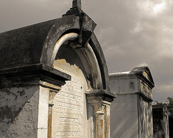 Above Ground Crypt Photo in Lafayette No. 1 Cemetery New Orleans - Overcast and Dark