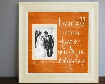 i want all of you custom picture frame personalized frame wooden frame square frame quote frame wedding frame 15x15
