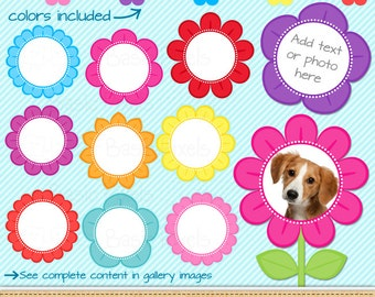 Flower frames clipart - Digital Clip Art - Personal and commercial use