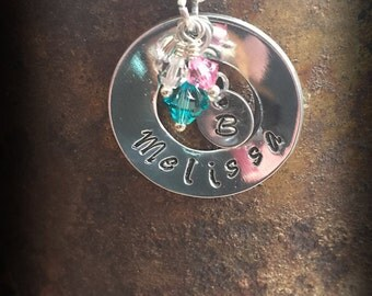 """Handstamped Personalized Necklace: 1"""" Washer with Dangling Crystals and Intital"""