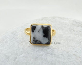 jasper ring, Zebra Jasper ring, 12mm Square ring, Custom ring, Gold Plated 925 Sterling Silver Bezel Ring, Semiprecious ring #1205