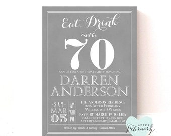 ANY AGE // 70th Birthday Party Invitation Adult Birthday Invite Gary White   Printable No.311BDAY