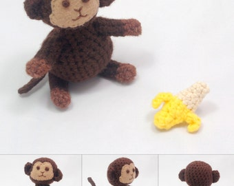 Sweet Monkey Amigurumi with Clothing Accessories and a Banana