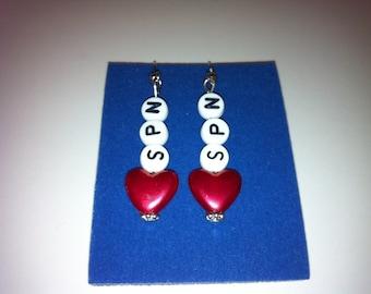 Spn red heart earrings