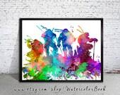 Ninja Turtles Poster 2, Watercolor Print, watercolor painting, watercolor art, Teenage Mutant, raphael, leonardo, michelangelo, donatello