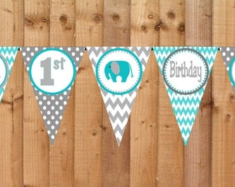 Chevron Elephant Birthday Banner - Printable Personalized Birthday Party Decorations Turquoise