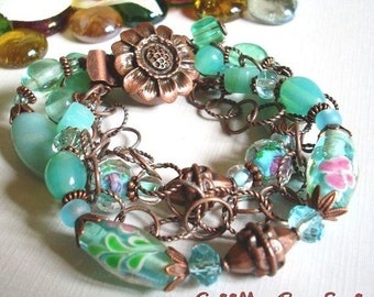 Aqua Blue Lampwork Beads and Antique Copper Bracelet