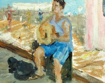 Street Musician - Guitar Player on Santa Monica Pier - Impressionist Oil Painting