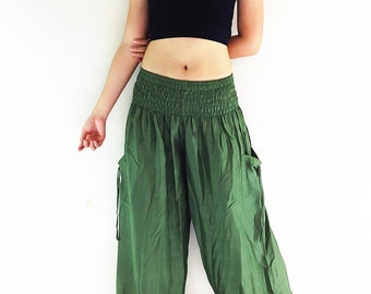 Women Harem Pants Yoga Pants Aladdin Pants Maxi Pants Baggy Pants Gypsy Pants Rayon Genie Pant Hippy Pants Trouser Green Olive (TC15)
