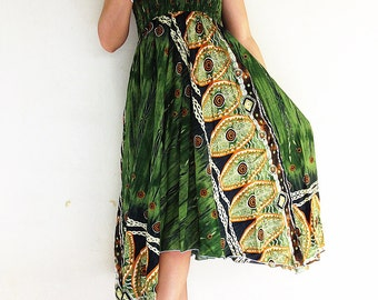 Women Maxi Dress Gypsy Dress Skirt Rayon Dress Skirt Boho Dress Hippie Dress Summer Beach Dress Skirt Clothing Green (DS49n)