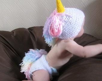 Mystical Unicorn Handmade Crocheted Baby Set/ Baby Photography Prop