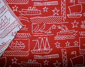 Reversible Red and White Nautical Fabric - Ships Upholstery Fabric - Home Decor Fabric